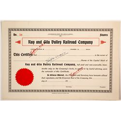 Ray and Gila Valley Railroad Co  stock specimen  (82718)