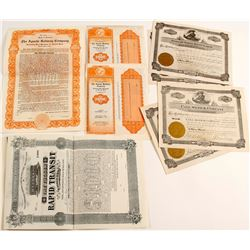 AZ Railroad Stock & Bond certificates  (83839)