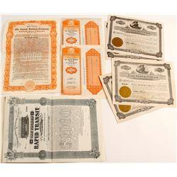 AZ Railroad Stock & Bond certificates  (83839)