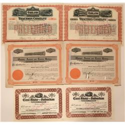 Six Oakland Railroad Stock Certificates  (117235)