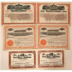 Six Oakland Railroad Stock Certificates  (117235)