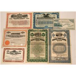 Seven Different California Bay Area Railroad Stock Certificates and Bonds  (117236)