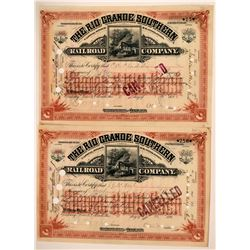 The Rio Grande Southern Railroad Co. Stocks Signed by Mears  (115894)