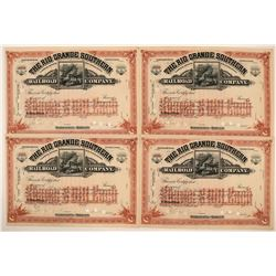 Four Rio Grande Southern Railroad Co. Stocks Signed by Otto Mears (115893)