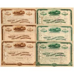 Chicago & Eastern Illinois Railroad Co. Stock Certificates (6)  (106674)