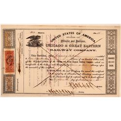 Chicago & Great Eastern Railway Co Stock Certificate, 1865  (111227)