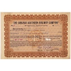 Chicago Southern Railway Co Syndicate Certificate #1  (111128)
