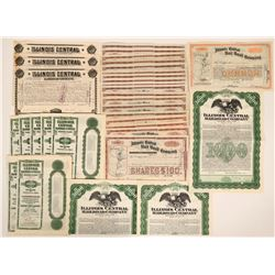 Illinois Central Rail Road Company Stock Certificates & Bonds  (117503)
