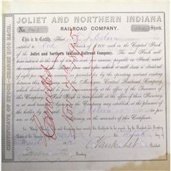 Joliet & Northern Indiana Railroad Co. Stock signed by Cornelius Vanderbilt II  (63988)