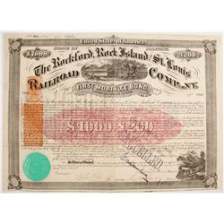 Rockford, Rock Island and St. Louis Railroad Company Imprinted Revenue Bond   (80526)