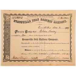Evansville Belt Railway Co Stock Certificate, 1909  (111677)