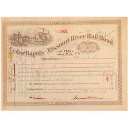 Cedar Rapids and Missouri River Rail Road Stock 1879  (111670)