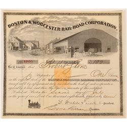 Boston & Worcester RR Stock Cert. with Imprinted Revenue  (117496)