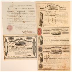 Five Early Boston Railroad Stock Certificates  (107411)