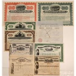 Nine Different Boston Railroad Stock Certificates & Bonds  (107412)