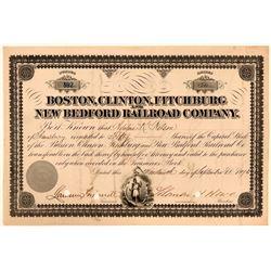 Boston, Clinton, Fitchburg & New Bedford Railroad Co Stock, 1876  (111164)