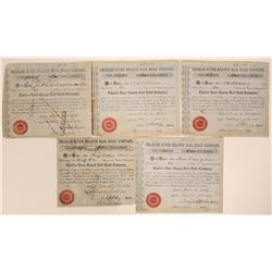 Charles River Branch Rail Road Co. Stock Certificates (5)  (107593)