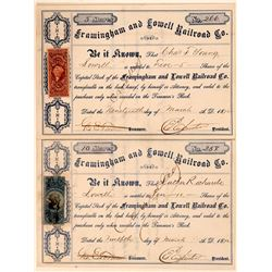 Framingham & Lowell Railroad Co Stock Certificates (2)  (111073)