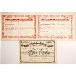 Lowell & Framingham Railroad Stocks (3)  (84930)