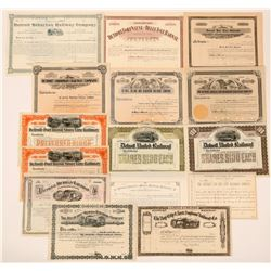 Michigan Railroad Stocks Group Unissued (15)  (111665)