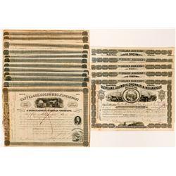 18 Cleveland, Columbus, Cincinnati & Indianapolis Railway Stock Certificates  (117497)