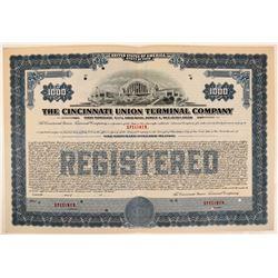 Cincinnati Union Terminal Co Bond Specimen, Blue, Series A, $1,000- Rare  (111171)