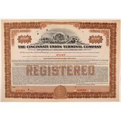 Cincinnati Union Terminal Co Bond Specimen, Brown, Series E, $10,000- Rare  (111182)