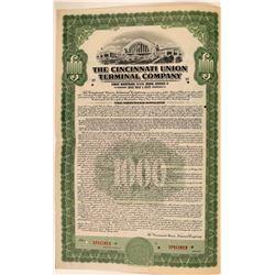 Cincinnati Union Terminal Co Bond Specimen, Green, Series D, $1,000- Rare  (111184)
