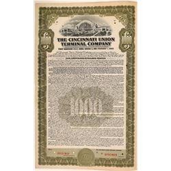 Cincinnati Union Terminal Co Bond Specimen, Olive, Series E, $1,000- Rare  (111185)