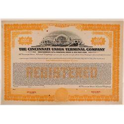 Cincinnati Union Terminal Co Bond Specimen, Orange, Series C, $1,000- Rare  (111178)