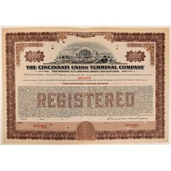 Cincinnati Union Terminal Co Specimen Bond, Series A, Brown, $5,000- Rare  (111173)