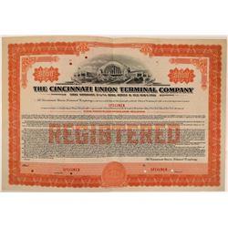Cincinnati Union Terminal Co Specimen Bond, Series D, Orange, $5,000- Rare  (111174)