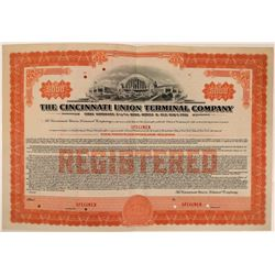 Cincinnati Union Terminal Co Specimen Bond, Series D, Orange, $5,000- Rare  (111174)
