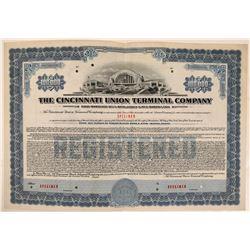 Cincinnati Union Terminal Co Bond Specimen, Blue, Series F, $100,000- Rare  (111179)