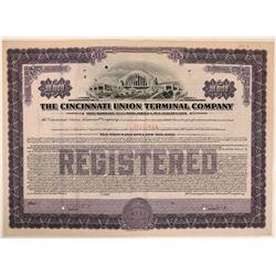 Cincinnati Union Terminal Co Specimen Bond, Series G, Purple, $10,000- Rare  (111312)
