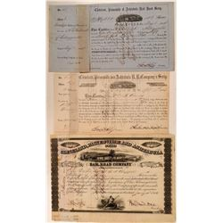 Cleveland, Painesville & Ashtabula Rail Road Co Certificates (3), all 1850's  (111285)