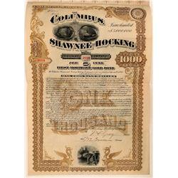 Columbus, Shawnee & Hocking Railway Co Bond, 1890  (111209)