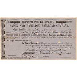 Eaton & Hamilton Railroad Co Stock Certificate, Ohio, 1853  (111266)