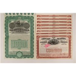 Eight Choctaw & Memphis Stock Certs  (117229)
