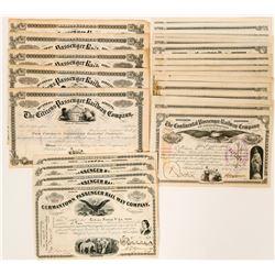 Three Types Pennsylvania Railroad Stock Certificates  (117506)