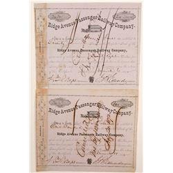 Ridge Avenue Passenger Railway Company Stock Certificates  (78755)