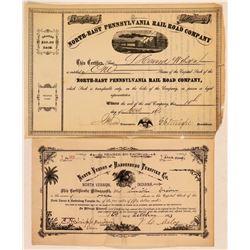 Pennsylvania and Indiana Railroad stocks  (112258)