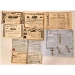 Ten Different 1833 and 1850's Railroad Stock Certificates and Bond  (117386)