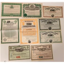 Burlington Railroad Bonds & Stock Certificates  (107543)