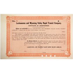 Lackawanna and Wyoming Valley Rapid Transit Cert  (84973)