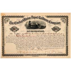The Central Union Depot & Railway Co of Cincinnati Stock, 1885  (111259)