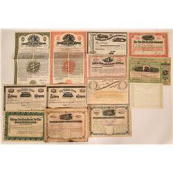 Thirteen Different Railroad Stock Certificates and Bonds  (117388)