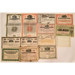 Thirteen Different Railroad Stock Certificates and Bonds  (117388)