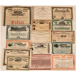Fifteen Different Railroad Stock Certificates & Bonds  (117387)