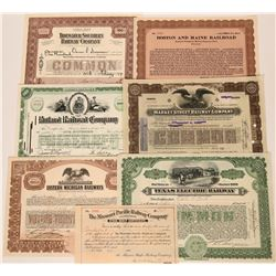 Nice Group of Assorted Railroad Stocks (7)  (111819)
